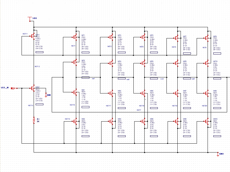 Current Starved VCO schematic on